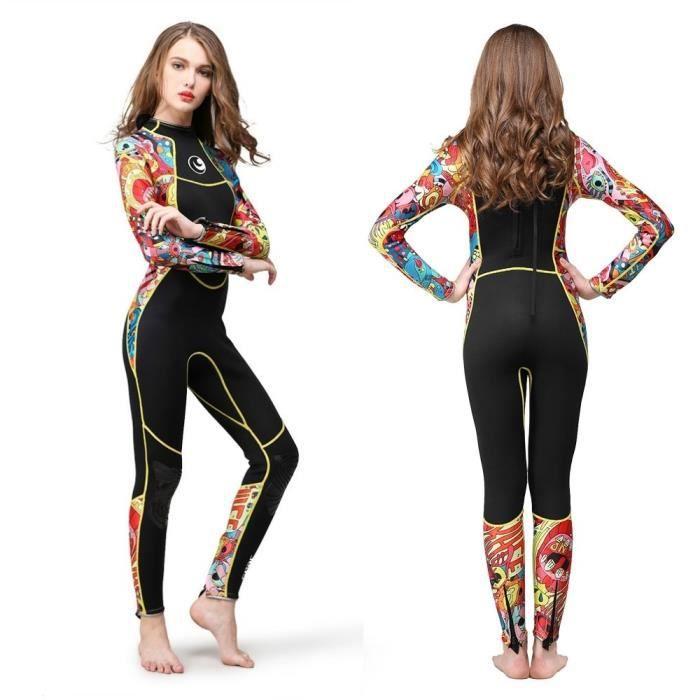 Couleur de couture de combinaison de néoprène de femmes de 3mm, méduses d'équipement de plongée