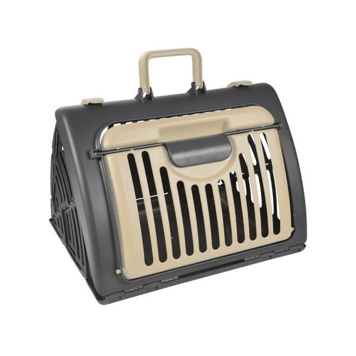 Cage de transport pliable pour animaux MAX&MITZY - Beige/Anthracite