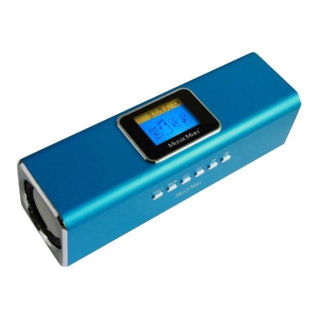 MUSICMAN MA DISPLAY SOUNDSTATION Enceinte portable avec écran, lecteur MP3 et radio intégrée - Bleu