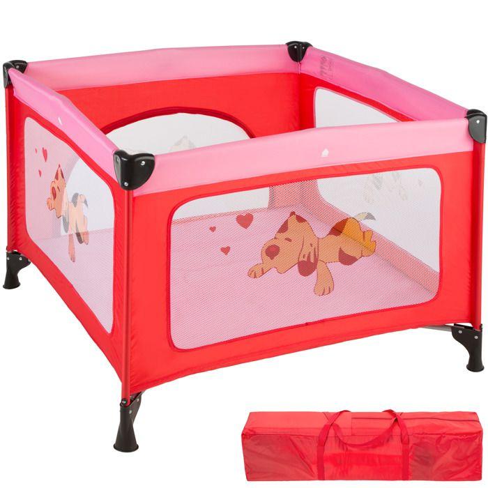 TECTAKE Parc Bébé pliable avec Matelas et Sac de Transport 105 cm x 105 cm x 78 cm Rose
