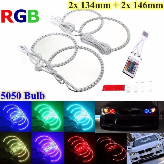 4x Multi-Couleur RGB LED Feu Strobe Angel Eye Télécommande Pr BMW E46 E36 E38 X5