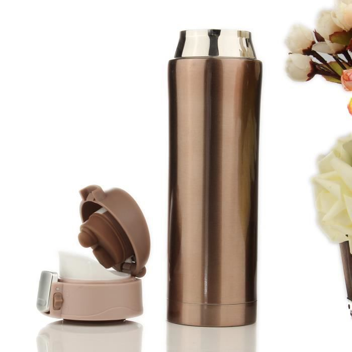 TEMPSA 500ml Thermos de the, Mug isotherme d'acier inoxydable, tasse cafe, bouteille d'eau 12 heures Or 500ML
