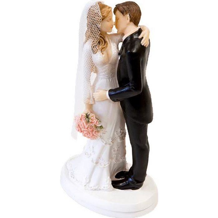 Sujet pièce montée pour mariage avec couple de mariés baiser de bonheur (x1) R/SUJ4974