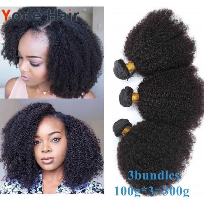 12-12-12- Mongolian Afro Kinky Curly Cheveux Humains 3 Bundles 100g-pcs Couleur Naturelle