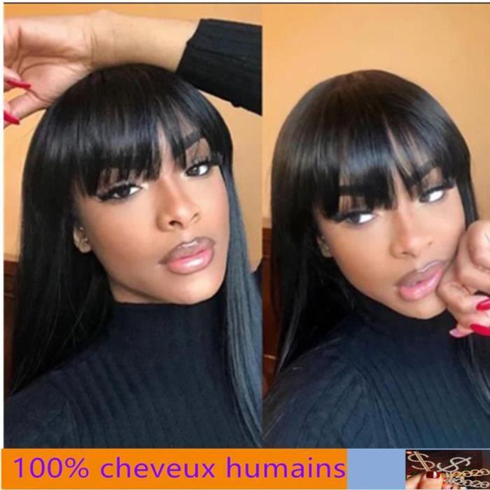 100% cheveux humains Perruque péruvienne Remy naturelle lisse avec frange faite à la Machine Pas de dentelle 22-