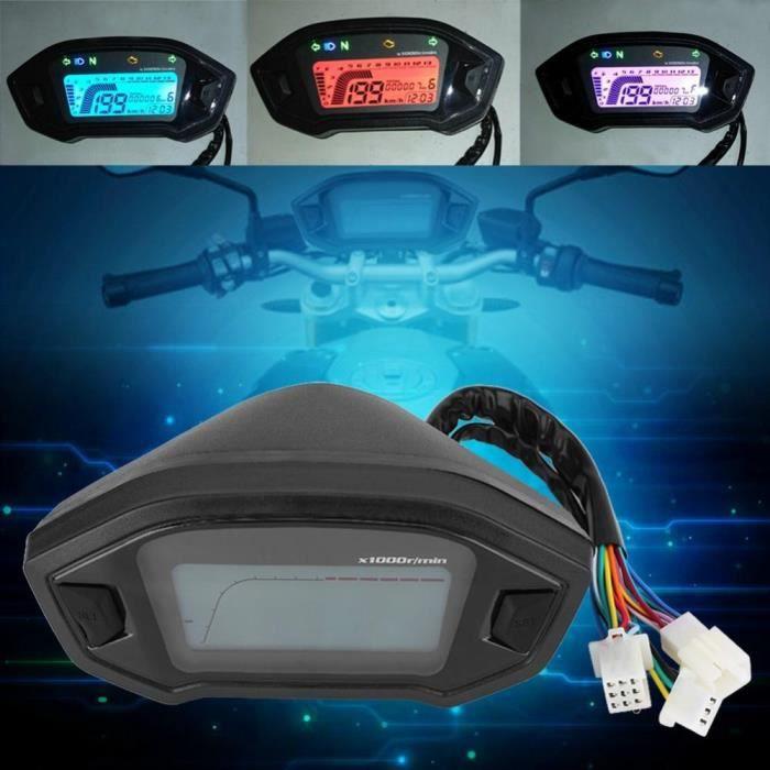 Indicateur de vitesse moto,Universel Color/é Compteur De Vitesse Moto Tachym/ètre Digital LCD Avec Capteur De Vitesse Color/é