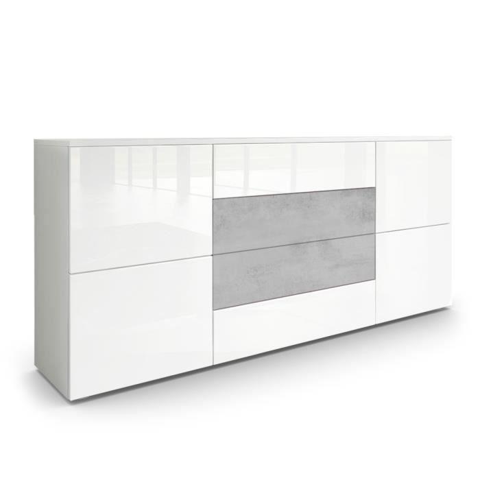 BUFFET - BAHUT  Buffet dressoir Rova en Blanc mat - Blanc haute br