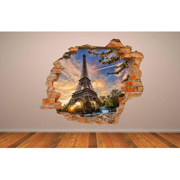 Grand sticker mural 110x90 cm tour eiffel 3d salon chambre - Photo deco kantoor ...