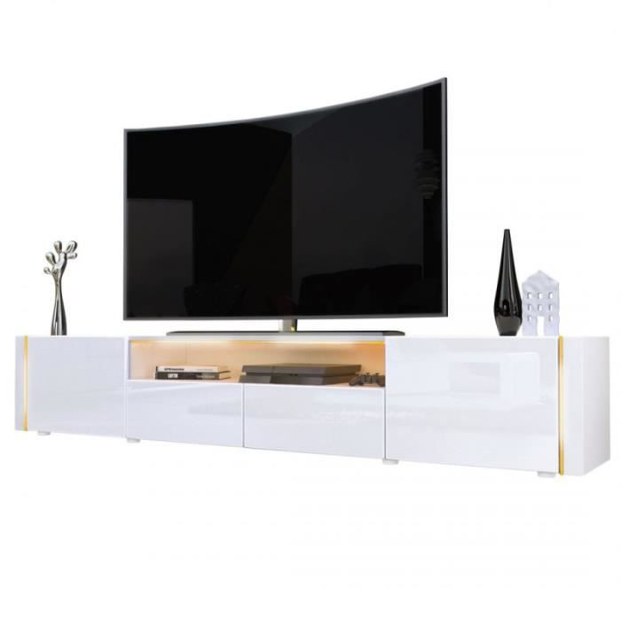 meubles tv bas blanc 205 cm achat vente meuble tv meubles tv bas blanc 205 cm cdiscount. Black Bedroom Furniture Sets. Home Design Ideas