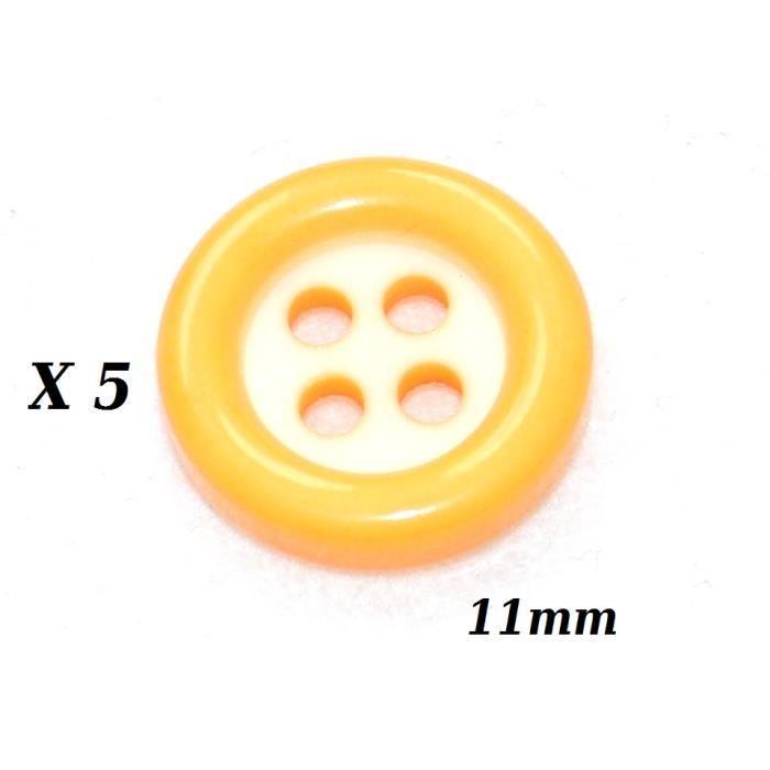 Mercerie lot de 5 Boutons plastique blanc et jaune 12mm button
