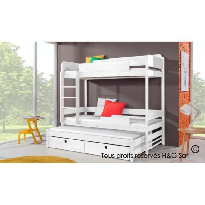 lit superpose funky 3 places blanc blanc sans matelas achat vente structure de lit cdiscount. Black Bedroom Furniture Sets. Home Design Ideas