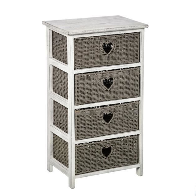 meuble chiffonnier 4 tiroirs gris c rus blanc gris achat vente chiffonnier semainier. Black Bedroom Furniture Sets. Home Design Ideas