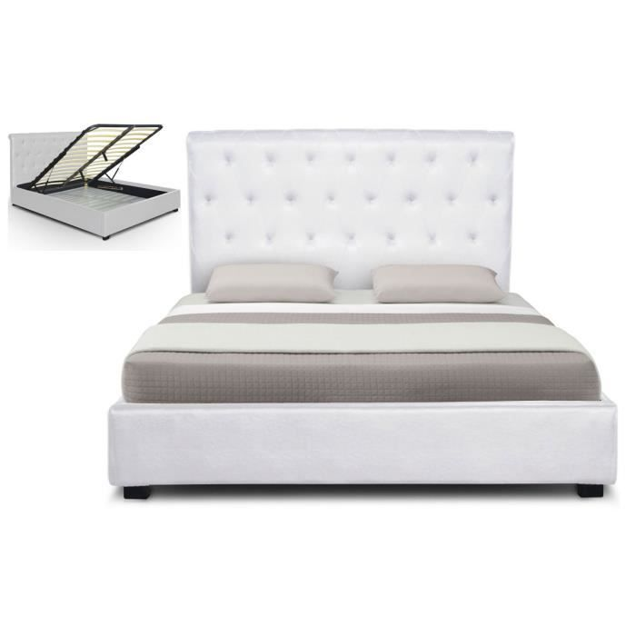 lit capitonne coffre cuir 140 cm blanc athena achat. Black Bedroom Furniture Sets. Home Design Ideas