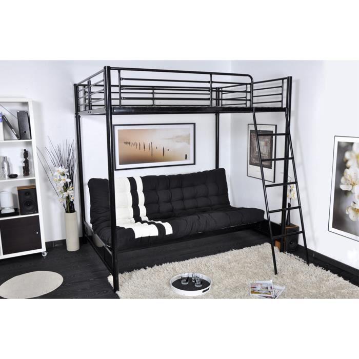 ensemble lit mezzanine 140x190 matelas futon achat vente lit mezzanine cdiscount. Black Bedroom Furniture Sets. Home Design Ideas