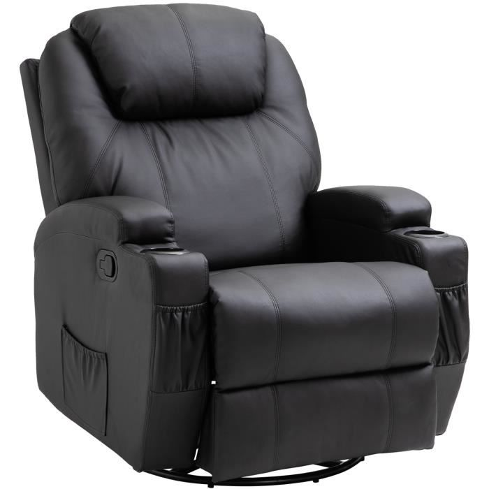 fauteuil massage lectrique chauffant noir achat vente fauteuil imitation cuir cdiscount. Black Bedroom Furniture Sets. Home Design Ideas