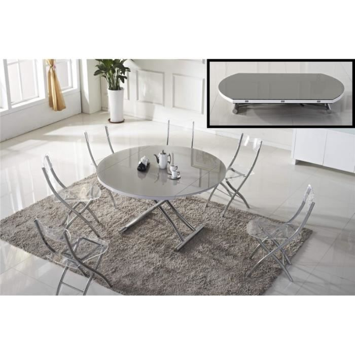 Table Basse Ronde Relevable Et Extensible Saturna Blanche