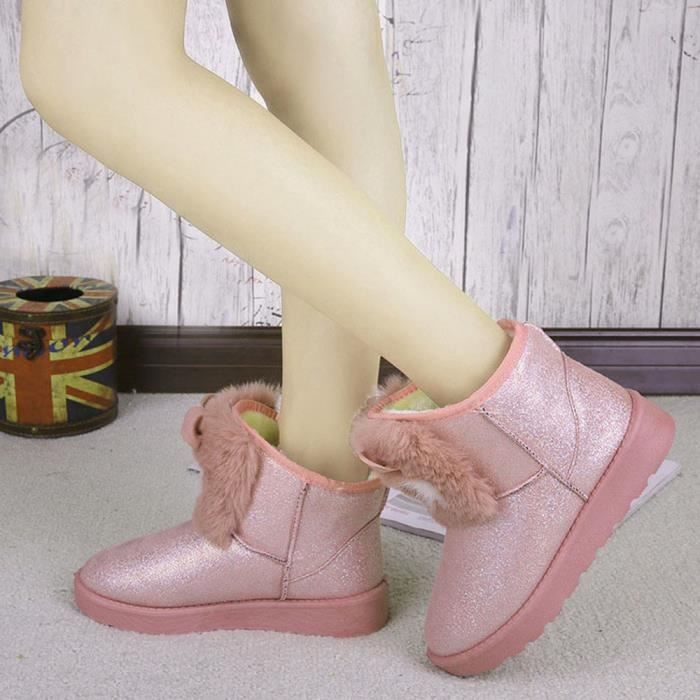 Hiver Lady Chaussures Femme Neige Bottines Chaud Casual Rose Mode 41BqxC