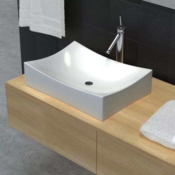 mewmewcat Lavabo C/éramique pour Les salles de Bain 63 x 42 cm Blanc