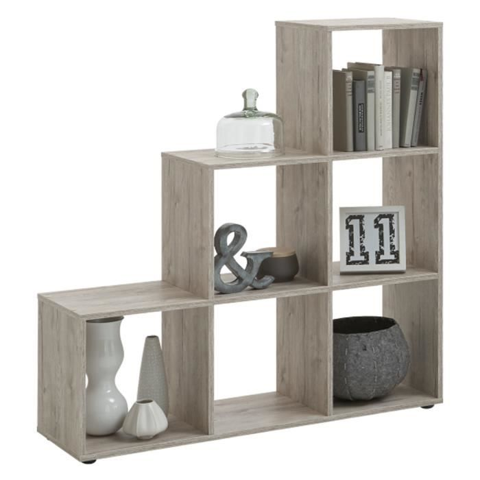 biblioth que escalier 6 cases coloris ch ne sable dim l 104 5 x h 108 x p 33 cm achat. Black Bedroom Furniture Sets. Home Design Ideas