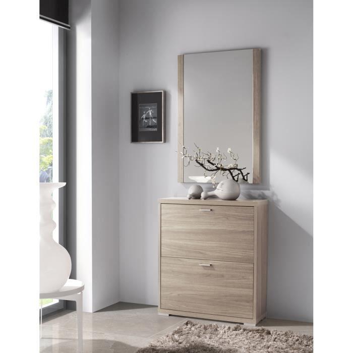 MEUBLE À CHAUSSURES Commode meuble à chaussures avec 2 portes, en bois