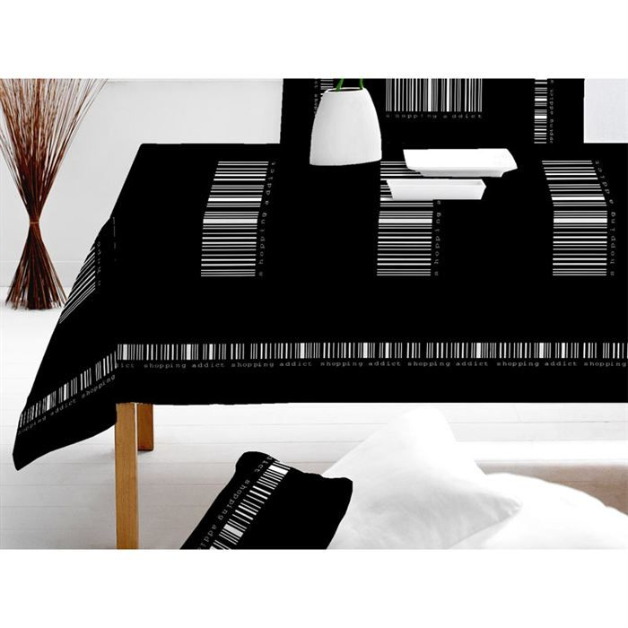 nappe rectangulaire noire et blanche. Black Bedroom Furniture Sets. Home Design Ideas