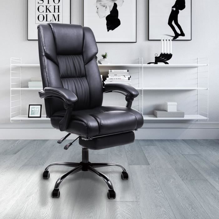 songmics fauteuil de bureau chaise pour ordinateur avec repos pieds pliable dossier r glable. Black Bedroom Furniture Sets. Home Design Ideas