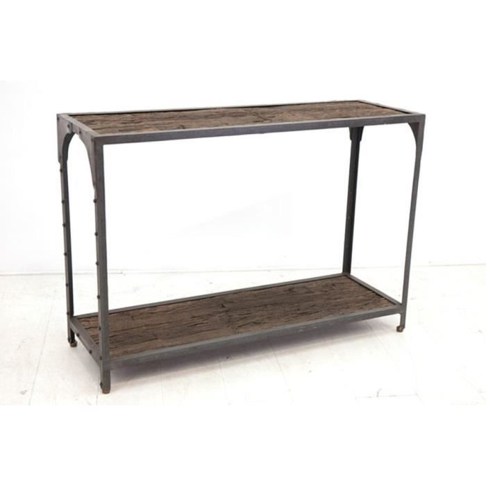 console en bois recycl et fer forg 110x36x78c achat. Black Bedroom Furniture Sets. Home Design Ideas