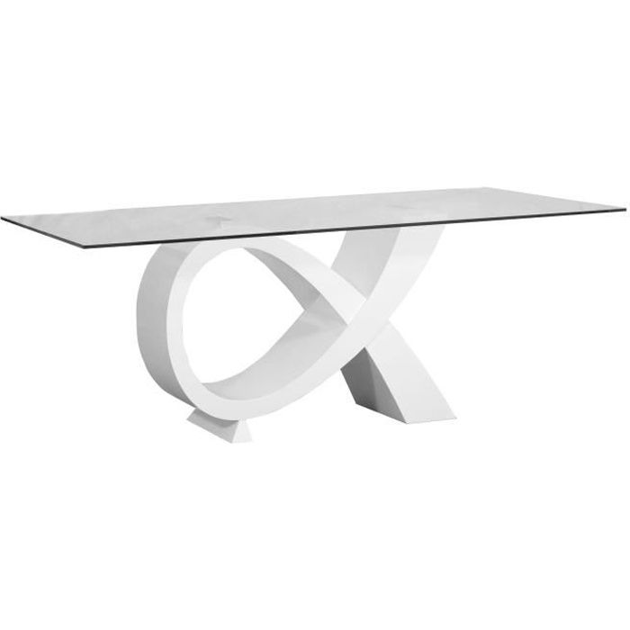 Buzz table manger 8 personnes 200x100 cm laqu blanc for Table a manger 2 personnes