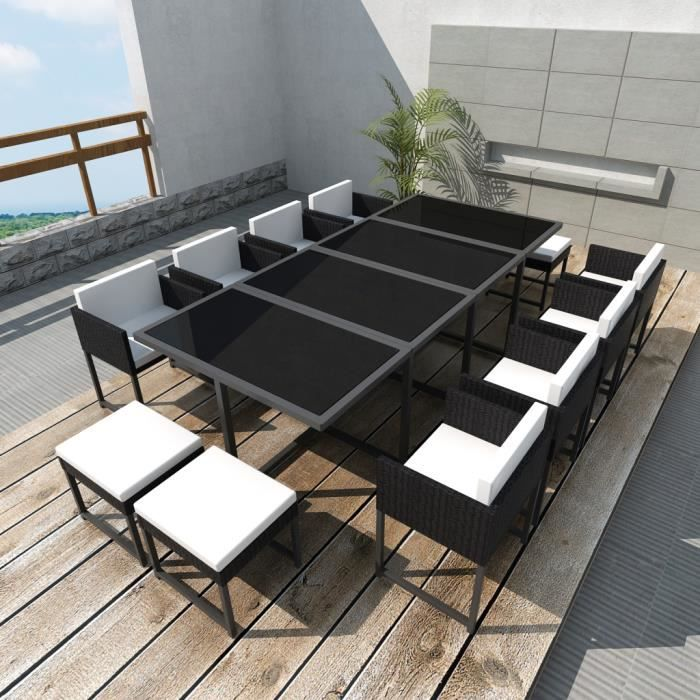 salon de jardin en poly rotin noir 12 personnes achat vente salon de jardin salon de jardin. Black Bedroom Furniture Sets. Home Design Ideas