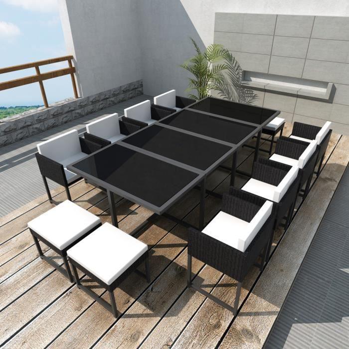 Salon de jardin en poly rotin noir 12 personnes - Achat ...