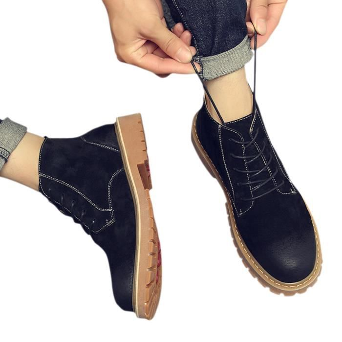 HEE GRAND Boots Homme Cuir Chukka à Lacets Outdoors