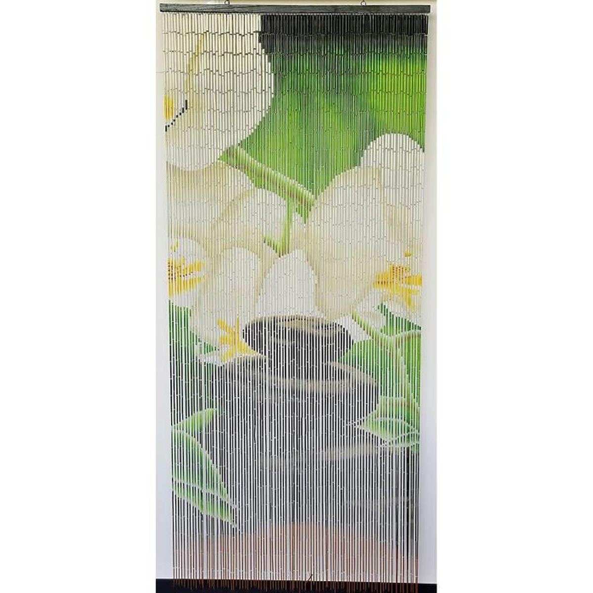 Rideau Porte D Entrée rideau de porte perles bambou,intérieur et extérieur, porte d'entrée porte  intérieure porte fenêtre taille 90x200cm n°12 zen