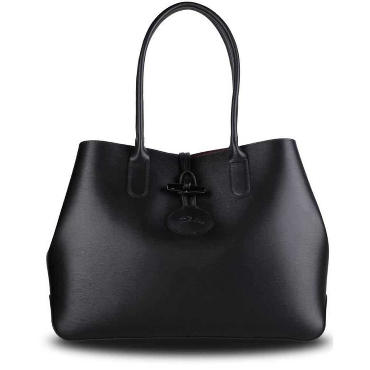 LONGCHAMP - sac femme porté épaule en cuir - NOIR ROSEAU - Achat ...