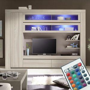 MEUBLE TV Meuble tv mural couleur bois gris MURANO  Avec écl