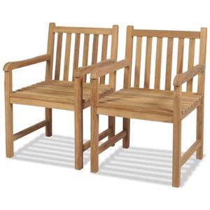 FAUTEUIL JARDIN  Chaise d'extérieur 2 pcs Teck 58 x 60 x 90 cm