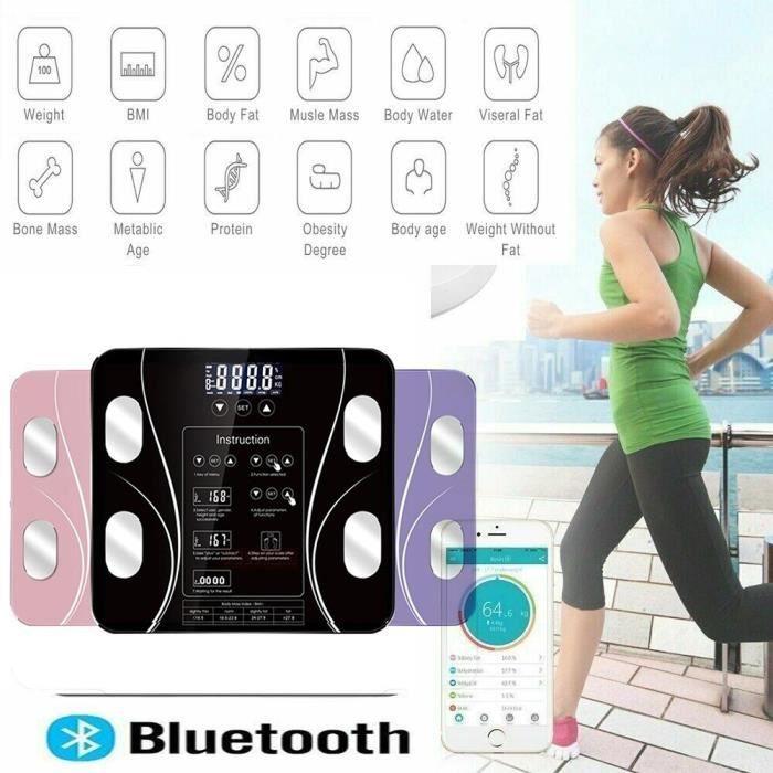 Pèse Personne Impédancemètre Connecté , Balance Pèse-Personne Bluetooth, Grand Ecran Rétroéclairé LED,Auto ON/OFF