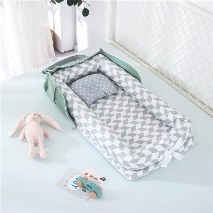 Lit Bébé Portable en Coton Reducteur de lit Pliable Nid pour nouveau-né nourrisson de voyage Lavable Berceau 0-2 Ans, Gris Treillis