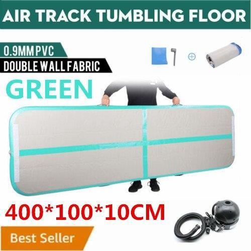 4M Air Track Floor Home Gonflable Gymnastique Formation Tumbling Mat GYM Green With Pump