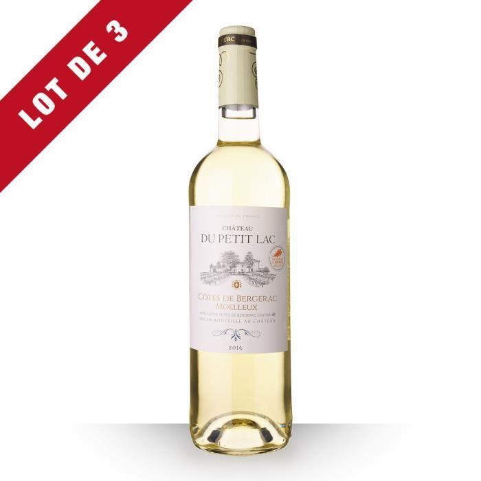 3x Château du Petit Lac 2016 AOC Côtes de Bergerac - 3x75cl - Vin Blanc