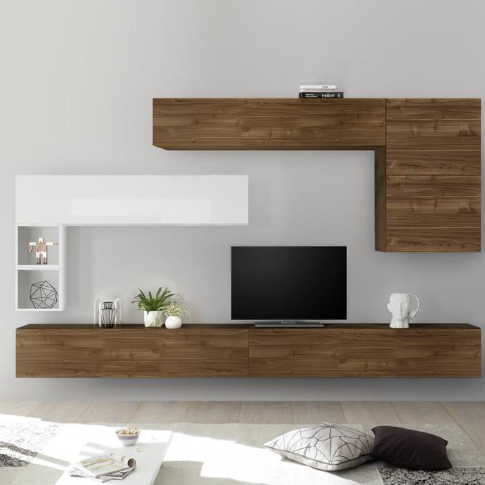 Ensemble meuble TV mural bois et blanc PIANA Marron L 275 x P 30 x H 200 cm