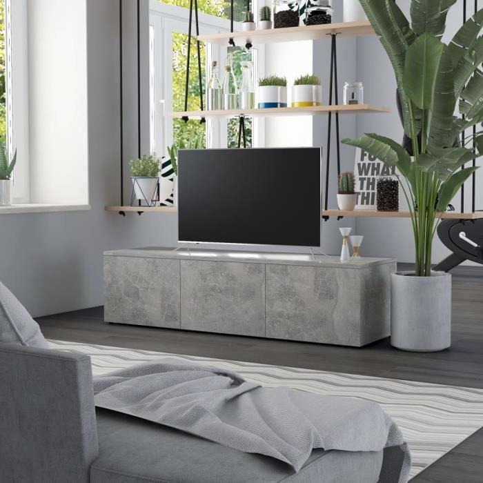 Luxueux Meuble TV Design - Meuble de rangement Meuble de Télévision Gris béton 120x34x30 cm Aggloméré ♫52129