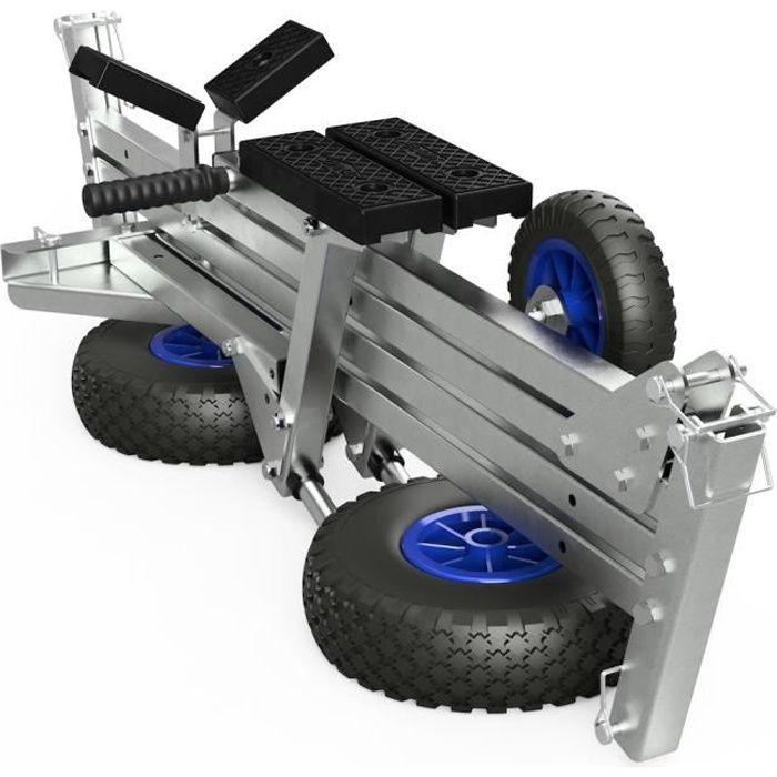 Remorque Chariot de mise à l'eau pour bateaux pneumatiques dériveurs annexes, SUPROD TR260-L-LU, noir/bleu