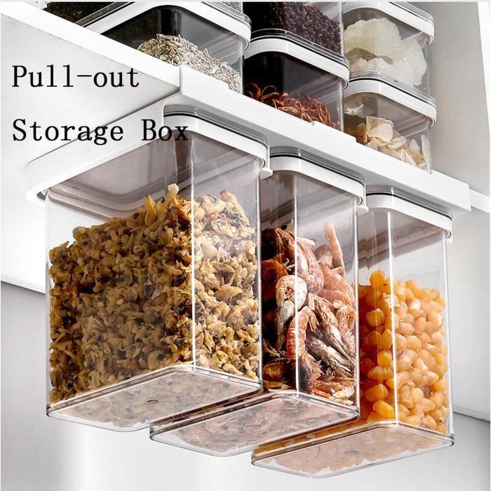 Boîte de rangement à grains entiers Bocal hermétique en plastique de cuisine en plastique de grain fixé au mur BFWJ210308005B