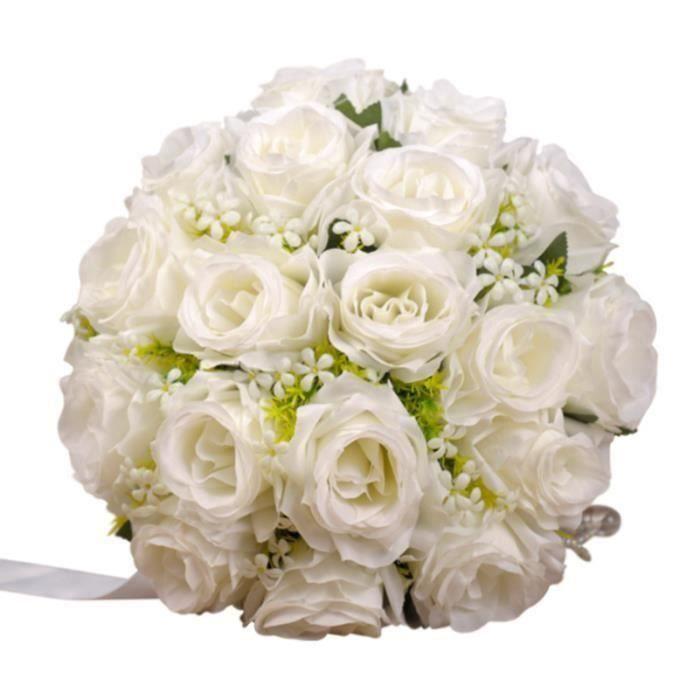 Bouquet De Fleurs Faux avec Soie Artificielle Fleurs de Mariage s pour la mariée Maison Jardin Décoration ,Blanc