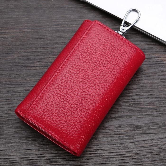 Porte Clé Étui à clé,Porte clés mode cuir femme de ménage hommes femmes voiture porte clés couvre fermeture éclair - Type Red
