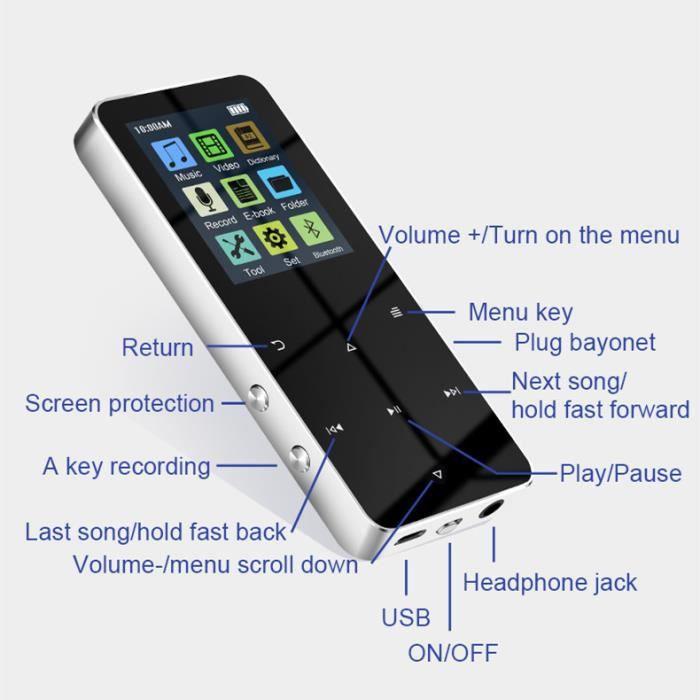 Lecteur de musique MP3 MP4, Bluetooth 4.2, prise en charge de la carte, avec réveil FM, tout nouveau 1,8pouces(16GO)