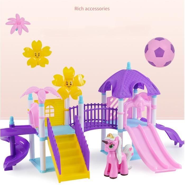 Parc de Jeux Petit Poney à Construire Soi-Même - Jouet Miniature Construction Eveil - 47 pieces + 1 Poney - A partir de 3 ans