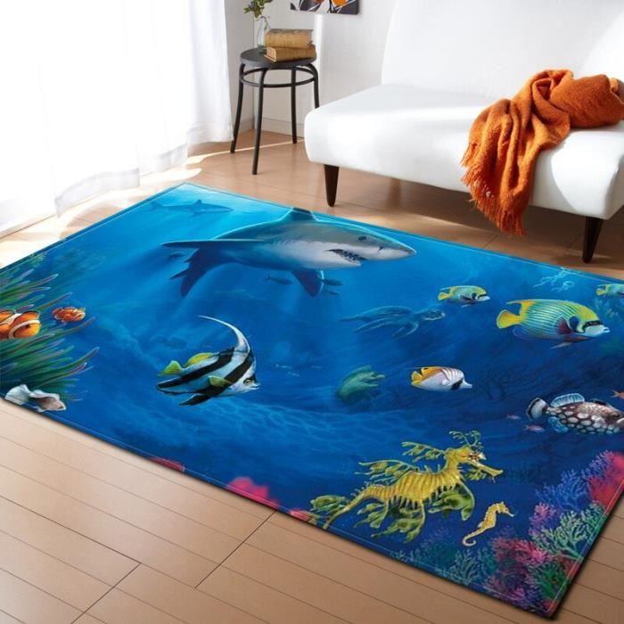 NO-4. 150X100cm Tapis de sol doux pour enfants - Tapis de grande taille 3D, dauphin/requin/poisson, tapis de sol, tapis de sol, tapi