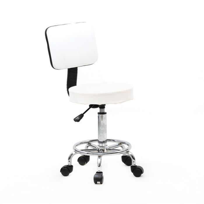 Tabouret de salon réglable de forme ronde avec dossier/PU leather/ Support 360 degree rotation(blanc)
