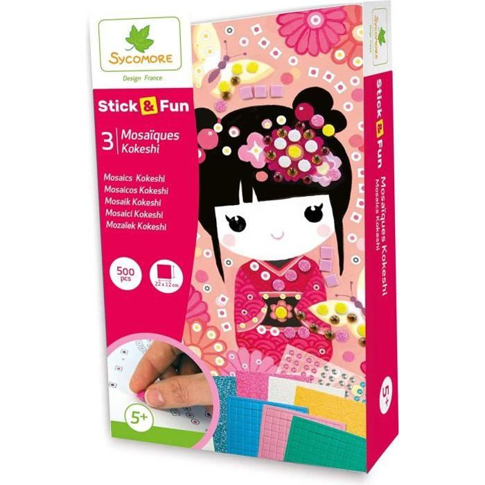 Sycomore- Mosaïques Autocollantes 3 Tableaux-Kokeshi-Stick & Fun-Loisirs Créatifs Enfant-Dès 5 Ans